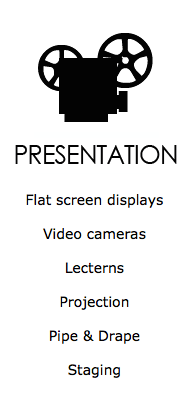 tv's, video camera, lectern, lecturn, projector, drape, stage