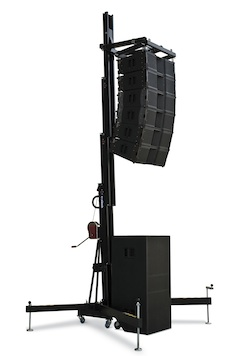 speaker tower, line array lifter, lifting tower winch-up, VMB tower lift
